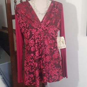 One World burgandy surplice top. Size L